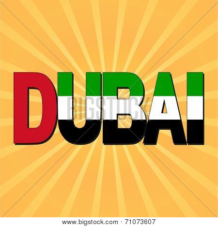 Dubai flag text with sunburst vector illustration