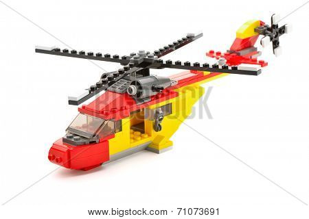 Ankara, Turkey - April 09, 2013: Lego Creator Rotor Rescue helicopter isolated on white background.