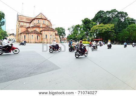 Road Traffic In Saigon, Vietnam