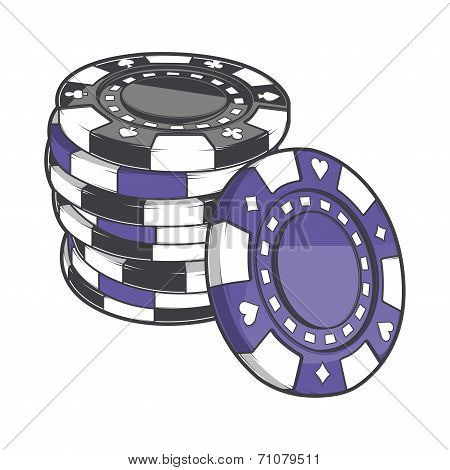 Black And Violet Stacks Of Gambling Chips, Casino Tokens Isolated On A White Background. Color Line