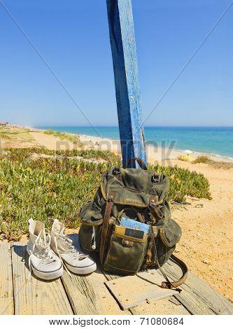 Backpacking Traveller In A Beach Rest. Tavira Island, Algarve. Portugal