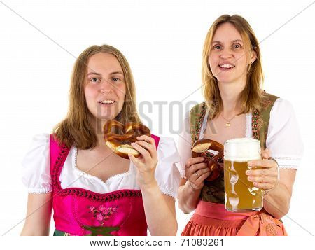 Eating Pretzel And Drinking Beer At Oktoberfest