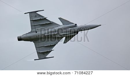 Saab JAS 39 Gripen jet during flight demonstration 02