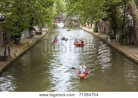 Canoes In Oude Gracht In Centre Of Utrecht
