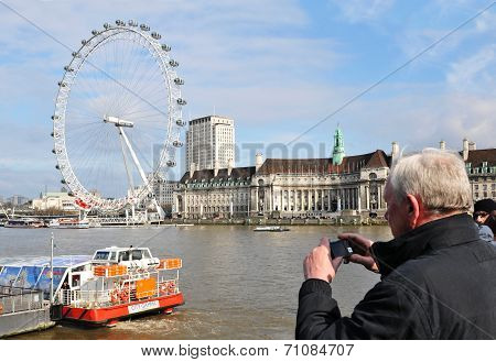 Senior tourist in London