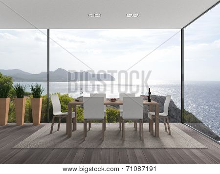 modern interior with a view to the sea