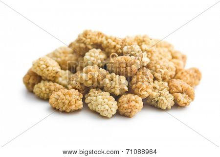 dried mulberry on white background