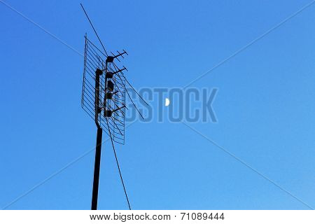 Television Antenna For Home Tv In Blue Sky