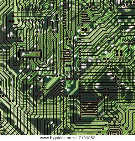 Circuit Board Dark Green Hi-tech Texture