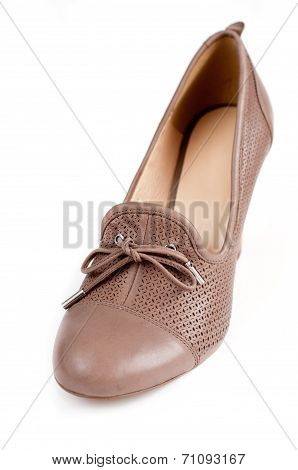 Beige Female Shoes Isolated On White