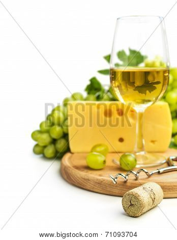 White Wine In A Glass C Cheese And Grapes