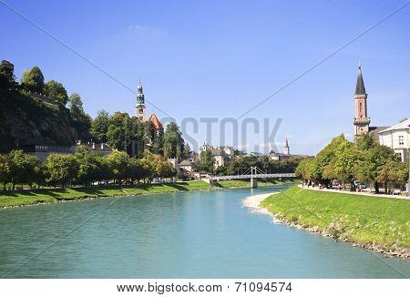 View of the city Salzburg and Salzach river, Austria