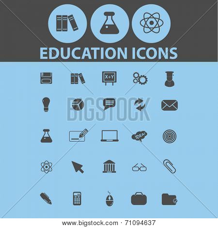 education isolated icons, signs, illustrations, silhouettes, vectors set