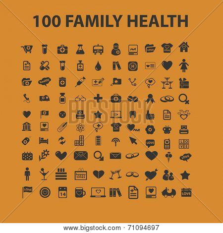 100 health, medicine isolated icons, signs, illustrations, silhouettes, vectors set