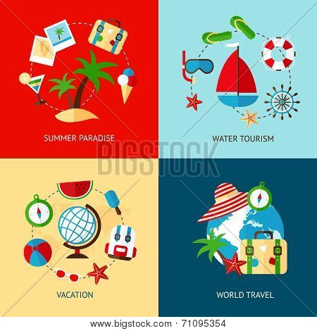Holiday icons flat set