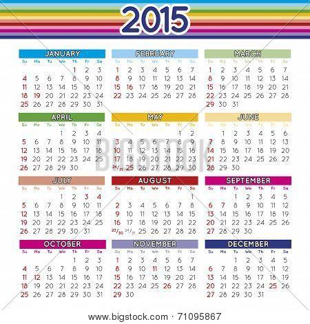 2015 Squared Calendar English