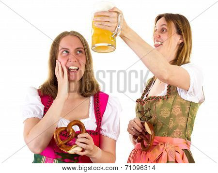 Girl Afraid About Shower With Beer