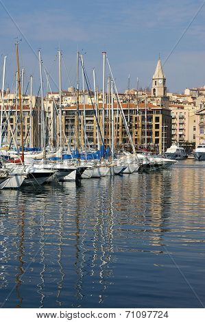 France, Marseille: Reflections Of Masts In The Old Port