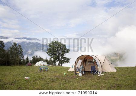 Tents On High Place In The French Alps