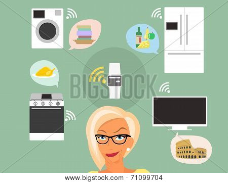 Blond woman thinking about smart gadgets at home and applications around her