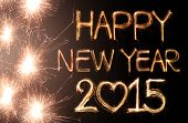 pic of hand alphabet  - Happy new year 2015 written with Sparkling figures - JPG
