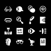 foto of ophthalmology  - Set icons of ophthalmology and optometry isolated on black - JPG