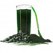 picture of algae  - Spirulina algae powder glass drink nutritional supplement close up  - JPG