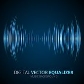 stock photo of vibrator  - Sound waves oscillating equalizer on black background - JPG