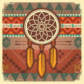 stock photo of dream-catcher  - dream catcher card with ethnic ornament - JPG