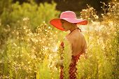stock photo of beatitudes  - Beautiful woman in a hat walks among high wildflowers - JPG