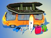 picture of blue things  - Car with things for tourism on a blue background - JPG