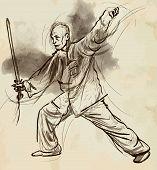 foto of tai-chi  - An hand drawn illustration  - JPG
