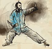 picture of tai-chi  - An hand drawn illustration  - JPG