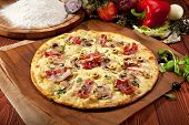 stock photo of hot fresh pizza  - White Pizza made from Sour Cream Sauce - JPG