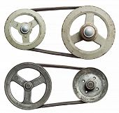 picture of pulley  - Old metal pulleys with belt - JPG