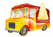 picture of ice-cream truck  - ice cream van isolated on a white background - JPG