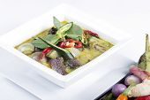 pic of curry chicken  - Green curry Chicken soup Thai spicy food on white background - JPG