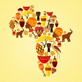 pic of continent  - Africa continent jungle ethnic tribe travel concept vector illustration - JPG