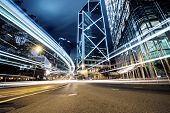 stock photo of hong kong bridge  - traffic in Hong Kong at night of city - JPG
