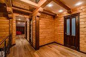 foto of log cabin  - View of inside of a modern log cabin - JPG