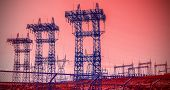 pic of power transmission lines  - Futuristic industrial vision pylons and transmission power lines - JPG