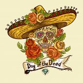 image of day dead skull  - Floral Background with Skull in Sombrero Day of The Dead illustration - JPG