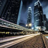 image of hong kong bridge  - traffic in Hong Kong at night of city - JPG