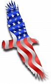 pic of waving american flag  - raster silhouette graphic depicting an American flag in the shape of an eagle - JPG