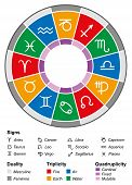 stock photo of scorpio  - Astrology zodiac with twelve signs and the most important divisions - JPG