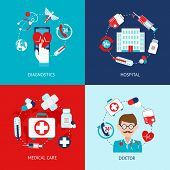 picture of thermometer  - Medical emergency first aid health care icons flat set isolated vector illustration - JPG