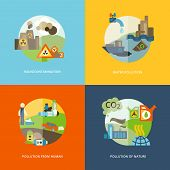 stock photo of thermal  - Global effects of environmental thermal and chemical emanating pollution flat icons composition set abstract isolated vector illustration - JPG