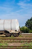 pic of boxcar  - Freight wagons stationing in the train station in the afternoon - JPG