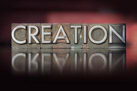 stock photo of adam eve  - The word Creation written in vintage letterpress type  - JPG