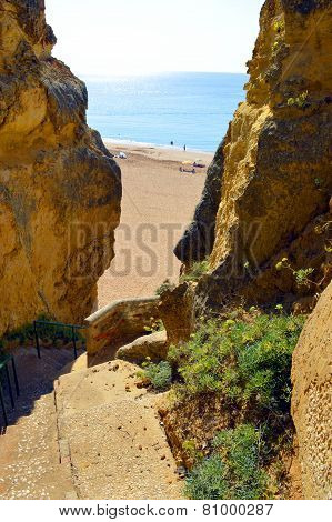 Steps down to Senhora Da Rocha Nova Beach in Portugal